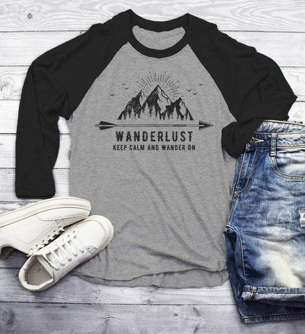 Men's Wanderlust Hipster T Shirt Keep Clam Wander On Nature Mountains Tees 3/4 Sleeve Raglan-Shirts By Sarah
