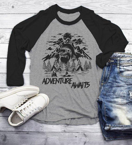 Men's Hipster T Shirt Yeti Shirts Bigfoot TShirt Adventure Awaits Camping Shirt Tent Camper Tee 3/4 Sleeve Raglan-Shirts By Sarah