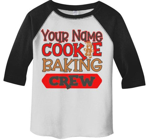 Kids Personalized Christmas T Shirt Cookie Baking Crew Matching Xmas Outfit Custom Graphic Tee Toddler Boy's Girl's 3/4 Sleeve Raglan-Shirts By Sarah