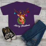 Kids Christmas Shirt Christmas Outfit Christmas Wreath Cute Deer Merry Christmas Graphic Tee Toddler Boy's Girl's-Shirts By Sarah