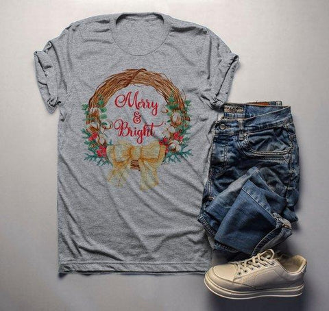Men's Christmas T Shirt Christmas Shirt Christmas Outfit Christmas Wreath  Merry And Bright Shirt