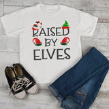 Kids Elf Outfit Christmas Shirt Elf Shirts Raised By Elves Graphic Tee Funny Elf Tshirt Elves T Shirt Toddler Boy's Girl's-Shirts By Sarah