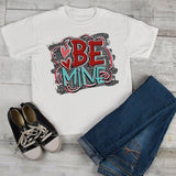 Kids Valentine's Shirt Be Mine T Shirt Valentine Shirts Grunge TShirt Heart Tee Toddler Boy's Girl's-Shirts By Sarah