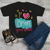 Kids Valentine's Day T Shirt Open Your Heart Valentine Shirt Graphic Tee Valentines Shirts Toddler Boy's Girl's-Shirts By Sarah