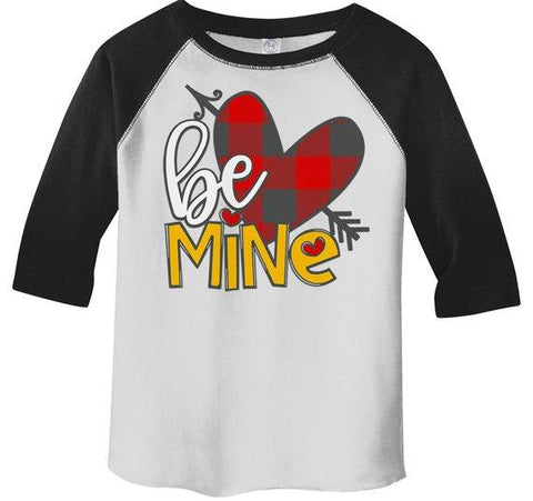 Kids Valentine's Day T Shirt Be Mine Shirts Plaid Heart Valentines Shirts Arrow Tee Toddler Boy's Girl's 3/4 Sleeve Raglan-Shirts By Sarah