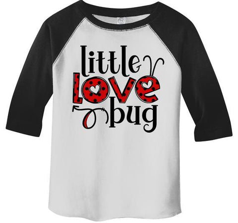 Kids Valentine's Day T Shirt Little Love Bug Shirts Cute Adorable Valentine Tshirt Toddler Tee 3/4 Sleeve Raglan-Shirts By Sarah