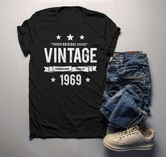 Mens 50th Birthday T Shirt Original Vintage Awesome Since 1969 Gift Idea Shirts