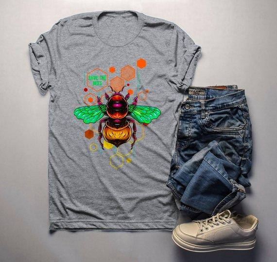 Men's Save The Bees Shirt Graphic Tee Illustrated T-Shirt Shirt Hipster Bee Keeper Gift Idea-Shirts By Sarah