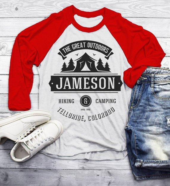 Men's Personalized Camping T Shirt Tent Great Outdoors Shirt 3/4 Sleeve Raglan Custom Graphic Tee Hiking Camper-Shirts By Sarah