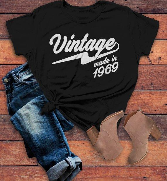 Womens Vintage T Shirt 1969 Birthday Made In 50th Tee Retro Gift Idea