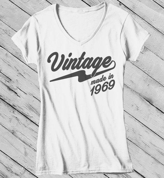 Women's Vintage T Shirt 1969 Birthday Made In Shirt 50th Birthday Tee Retro Gift Idea Vintage Tee-Shirts By Sarah