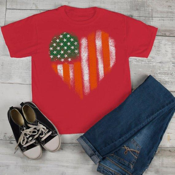 Kids American Irish Heart T-Shirt Patriotic St. Patrick's Day Shirt American Irish Pride Grunge Shirts Boy's Girl's Toddler-Shirts By Sarah