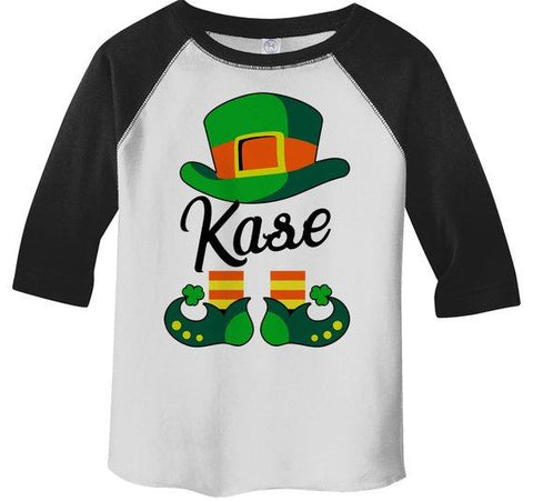 Toddler Boy's Personalized T Shirt Leprechaun 3/4 Sleeve Raglan St. Patrick's Day Custom Shirts Graphic Tee-Shirts By Sarah