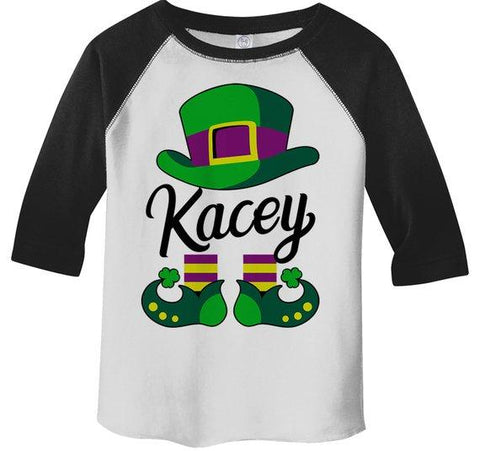 Toddler Girl's Personalized T Shirt Leprechaun 3/4 Sleeve Raglan St. Patrick's Day Custom Shirts Graphic Tee-Shirts By Sarah