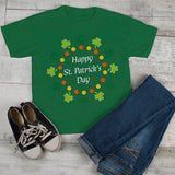 Kids St. Patrick's Day T-Shirt Happy St. Patrick's Day Shirt Wreath Shirt Toddler Clovers Cute Graphic Tee-Shirts By Sarah