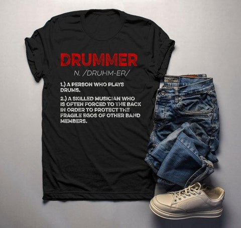 Men's Funny Drummer Shirt Drummer Definition Tshirt Drummer Gift Idea Band Shirts Drummer T Shirt-Shirts By Sarah
