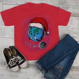 Kids Earth Christmas Shirt Geek Shirt Christmas Geek Shirts Graphic Tee Santa Hat T Shirt Boy's Girl's Toddler-Shirts By Sarah