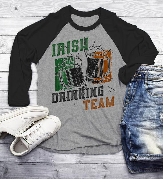Men's Irish Drinking Team T Shirt St. Patrick's Day Shirts 3/4 Sleeve Raglan Ireland Flag Ireland Beer Mugs Graphic Tee Grunge TShirt-Shirts By Sarah