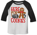 Kids Christmas T Shirt Here For Cookies Xmas Shirts Cute Graphic Tee Cookie Shirts Outfit Boy's Girl's Toddler 3/4 Sleeve Raglan-Shirts By Sarah