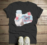Men's Christmas Shirt Watercolor Snowman Shirts Merry Christmas T Shirt Pretty Xmas Tee-Shirts By Sarah