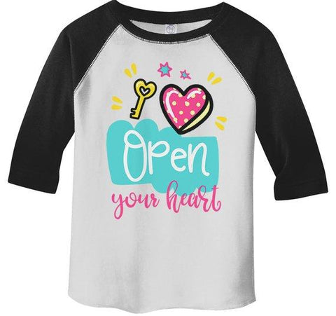 Kids Valentine's Day T Shirt Open Your Heart Valentine Shirt Graphic Tee Valentines Shirts Toddler Boy's Girl's 3/4 Sleeve Raglan-Shirts By Sarah