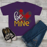 Kids Valentine's Day T Shirt Be Mine Shirts Plaid Heart Valentines Shirts Arrow Tee Toddler Boy's Girl's-Shirts By Sarah