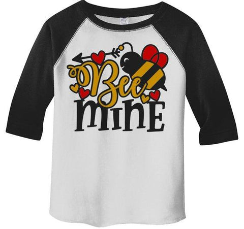Kids Valentine's Day T Shirt Bee Mine Shirts Cute Bee TShirt Valentines Shirts Arrow Tee Toddler Boy's Girl's 3/4 Sleeve Raglan-Shirts By Sarah