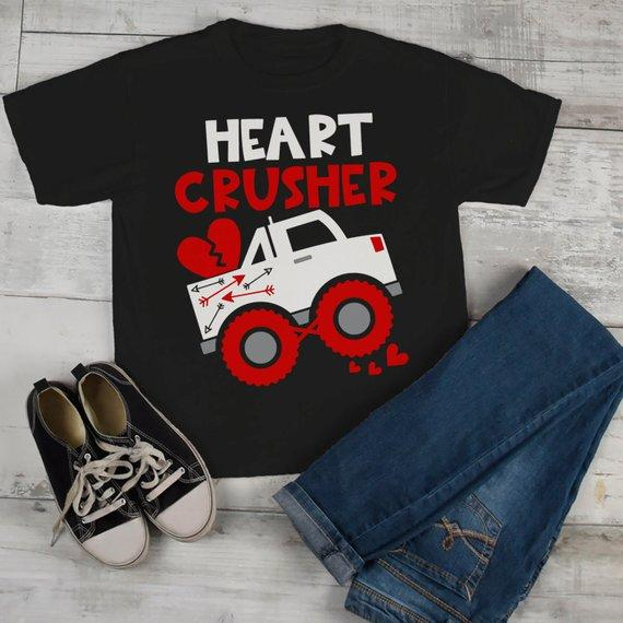 8c55d12f Kids Valentine's Day T Shirt Heart Crusher Shirts Truck TShirt Funny  Valentines Tee Toddler Valentine T