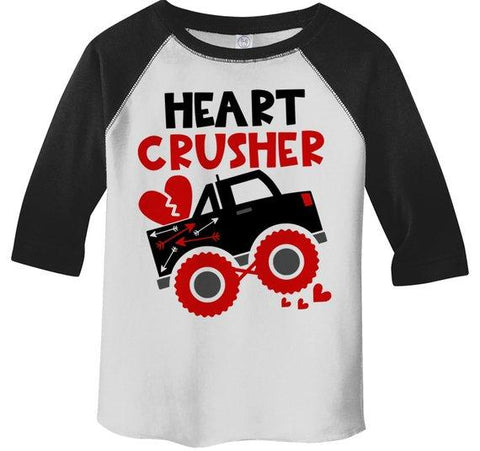 Kids Valentine's Day T Shirt Heart Crusher Shirts Truck TShirt Funny Valentines Tee Toddler Valentine T-Shirt 3/4 Sleeve Raglan-Shirts By Sarah