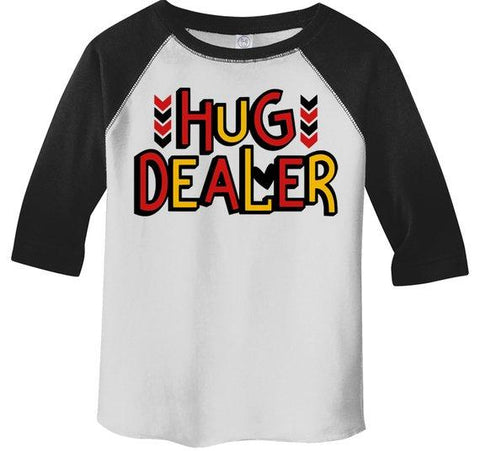 Kids Funny Valentine's Day T Shirt Hug Dealer Shirts Funny Valentines Tee Vintage Shirt Toddler Valentine T-Shirt 3/4 Sleeve Raglan-Shirts By Sarah