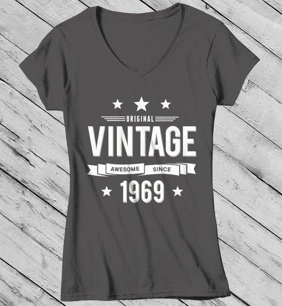 Women's 50th Birthday T Shirt Original Vintage Shirt Awesome Since 1969 Gift Idea 50th Birthday Shirts Vintage Tee Vintage Shirt-Shirts By Sarah