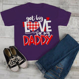 Kids Valentine's Day T Shirt Got Love For Daddy Shirt Plaid Heart Tee Valentines Day Shirts-Shirts By Sarah