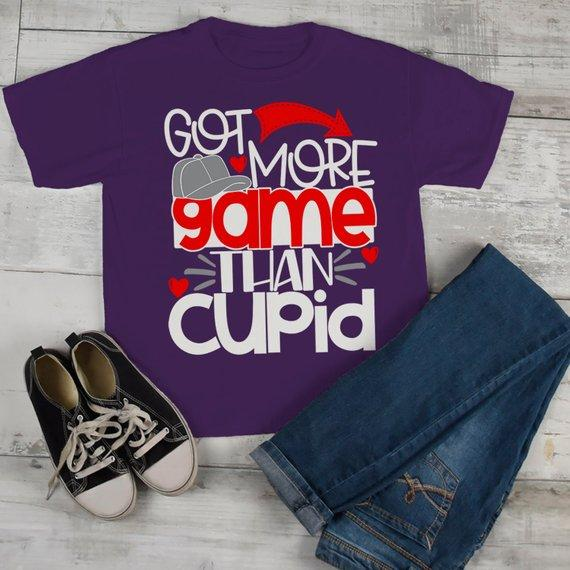 Kids Funny Valentine's Day T Shirt More Game Than Cupid T-Shirt Valentines Shirts Cute Valentine Tee-Shirts By Sarah