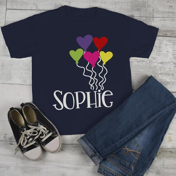 Kids Personalized Valentine's Day Shirt Heart Balloons Valentine TShirt Toddler Tee-Shirts By Sarah