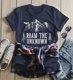Women's Roam Unknown T Shirt Hipster Camping Shirts Adventure Awaits Mountains Graphic Tee Hipster-Shirts By Sarah