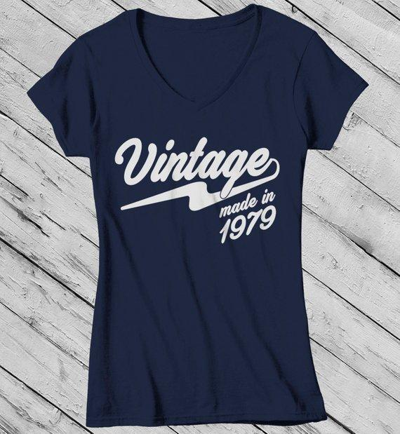 Women's Vintage T Shirt 1979 Birthday Made In Shirt 40th Birthday Tee Retro Gift Idea Vintage Tee-Shirts By Sarah