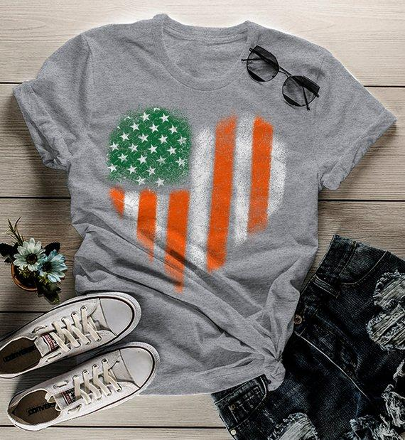 Women's American Irish Heart T-Shirt Patriotic St. Patrick's Day Shirt American Irish Pride Grunge Shirts-Shirts By Sarah