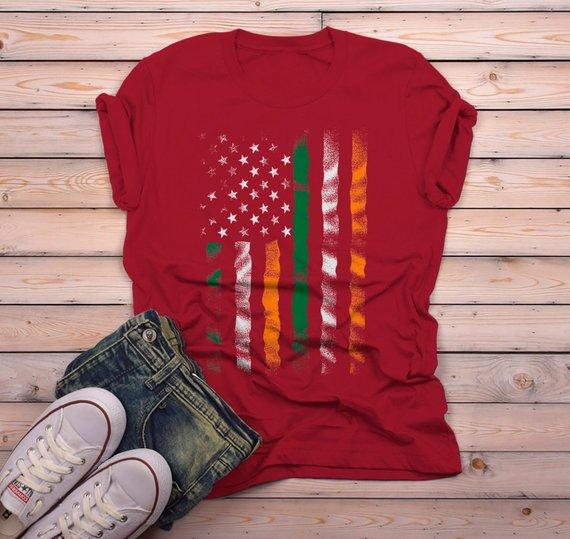 Men's American Irish T-Shirt Patriotic St. Patrick's Day Shirt American Irish Pride Grunge Shirts-Shirts By Sarah