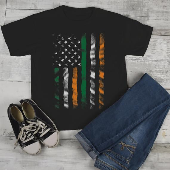 Kids American Irish T-Shirt Patriotic St. Patrick's Day Shirt American Irish Pride Toddler Grunge Shirts-Shirts By Sarah