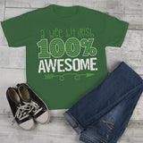 Kids Funny St. Patrick's Day T Shirt Wee Bit Irish 100% Awesome Toddler Grunge Shirts St Pats Day Tee-Shirts By Sarah