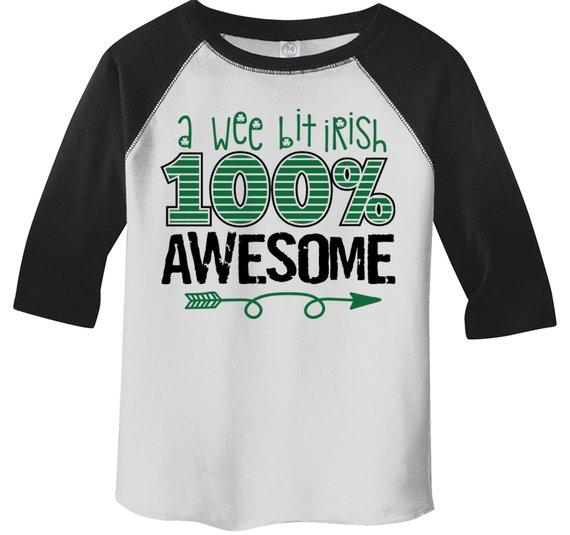 Kids Funny St. Patrick's Day T Shirt Wee Bit Irish 100% Awesome Toddler Ragln 3/4 Sleeve Grunge Shirts St Pats Day Tee-Shirts By Sarah