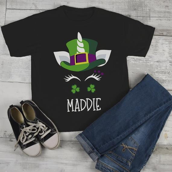 5679f9a92 Toddler Girl's Personalized Unicorn T Shirt St. Patrick's Day Custom Shirts  Graphic Tee-Shirts