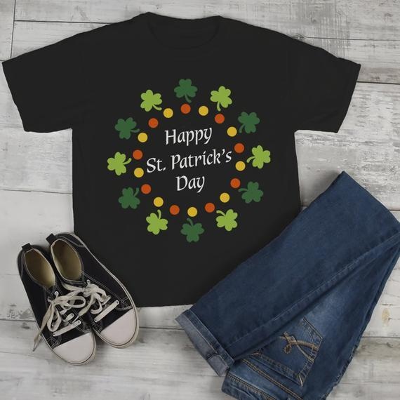 3f87c38d Kids St. Patrick's Day T-Shirt Happy St. Patrick's Day Shirt Wreath Shirt