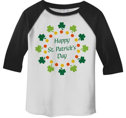 Kids St. Patrick's Day T-Shirt Happy St. Patrick's Day Toddler 3/4 Sleeve Raglan Shirt Wreath Shirt Clovers Cute Graphic Tee-Shirts By Sarah