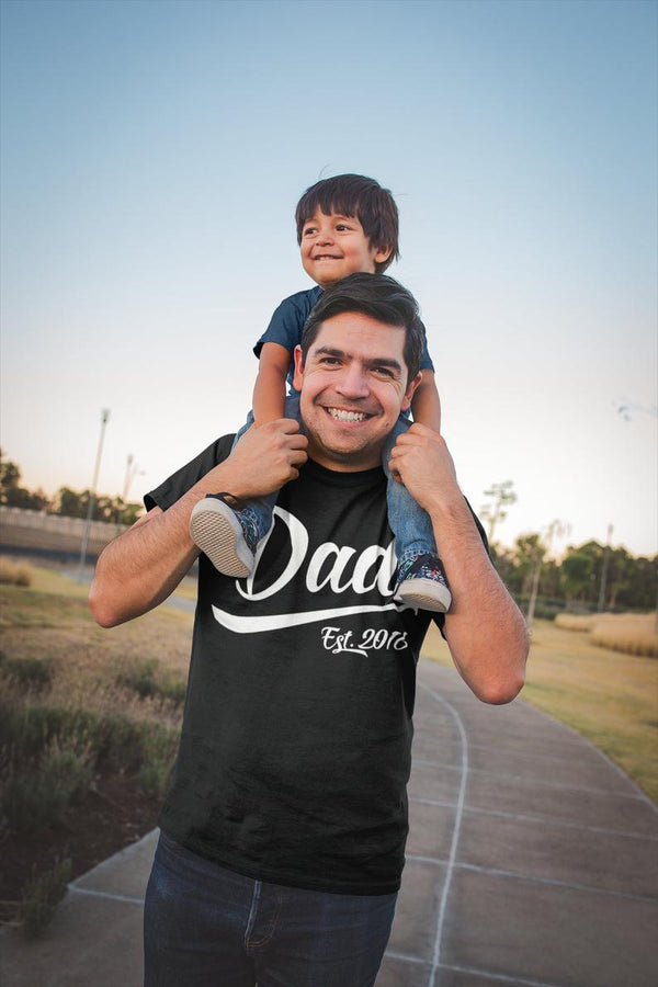 Men's Personalized Dad Gift EST. T-Shirt New Baby Reveal Idea Gift Father's Day Shirts Dad Shirt Dad TShirt-Shirts By Sarah