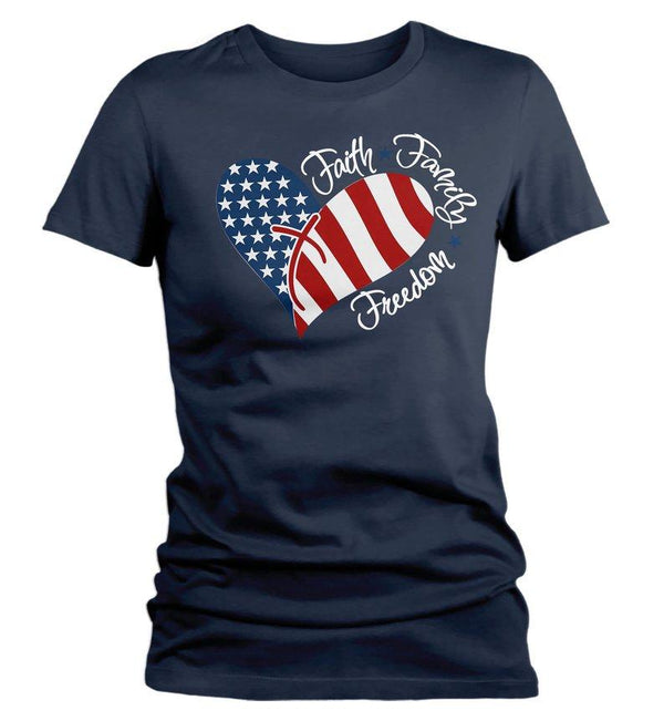 Women's American Flag Heart T-Shirt Faith Family Freedom Patriotic 4th July Shirt America Grunge Shirts Memorial Day Shirt-Shirts By Sarah