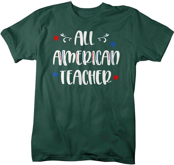 Men's All American Teacher T-Shirt Teacher Shirt Patriotic Shirts 4th July Independence Day Shirts America Shirt-Shirts By Sarah