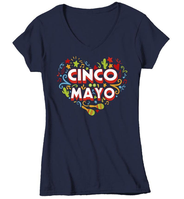 Women's Cinco De Mayo T Shirt Mexico Heart Shirts Mexican 5th May Graphic Tee Mexican Pride Tshirt-Shirts By Sarah