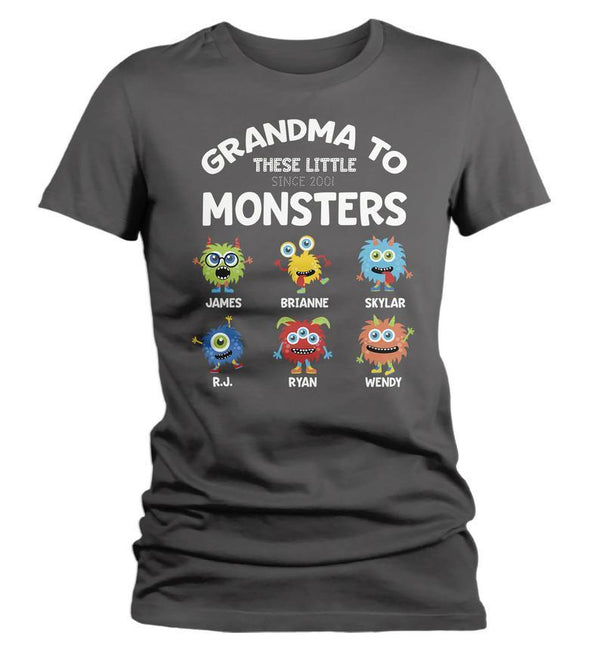 Women's Personalized Grandma T-Shirt Grandma To Little Monsters Cute Custom Grandma Gift Idea Mother's Day Gifts-Shirts By Sarah