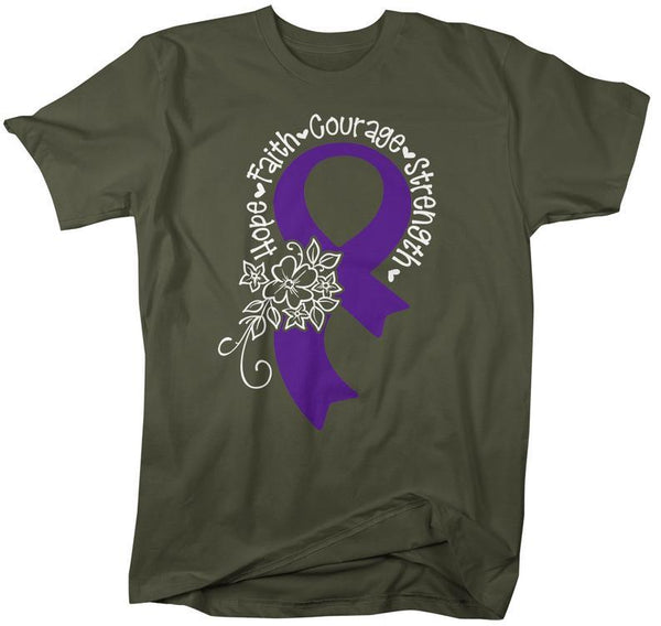 Men's Purple Ribbon T-Shirt Lupus Shirt Fibromyalgia Shirts Hope Courage Strength Faith Shirts-Shirts By Sarah